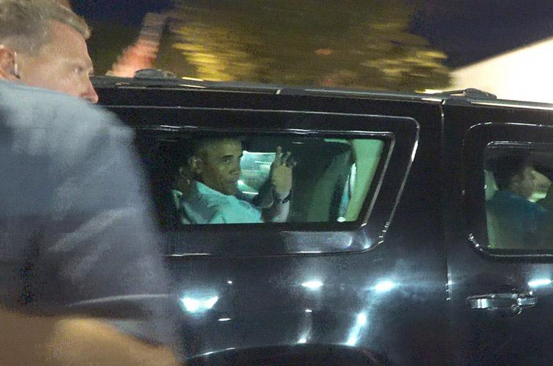 President Obama departs Jimmy Seas in Oak Bluffs.