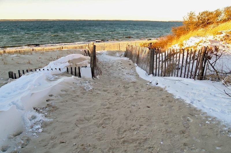 Snow Falls On Lambert S Cove Beach